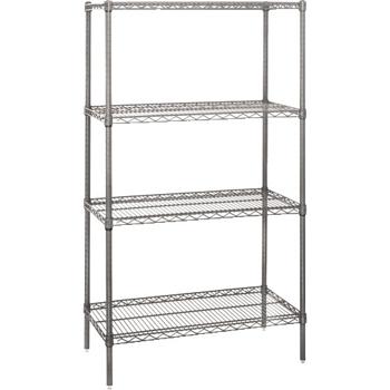"Wire Shelving Starter Unit, 4 Shelf, 36"" x 12"" x 74"", Chrome"