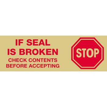 """Tape Logic® Pre-Printed Carton Sealing Tape, """"Stop If Seal Is Broken..."""", 2.2 Mil, 2"""" x 55 yds., Red/Tan, 36/CS"""