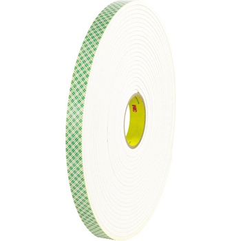 "3M™ 4004 Double Sided Foam Tape, 1"" x 18 yds., 1/4"", Natural, 1/CS"