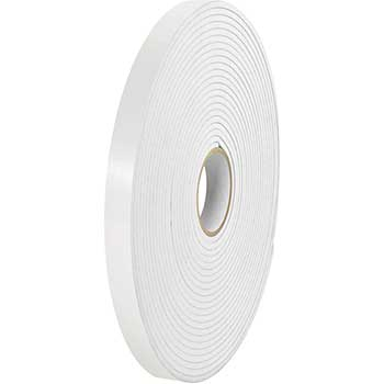 """Removable Double Sided Foam Tape, 1/16"""", 1"""" x 36 yds., White, 2/CS"""