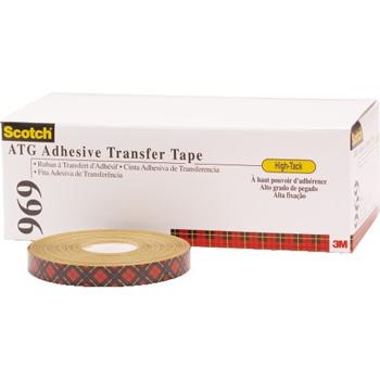 "3M™ 969 Adhesive Transfer Tape, 5.0 Mil, 3/4"" x 18 yds., Clear, 6/CS"