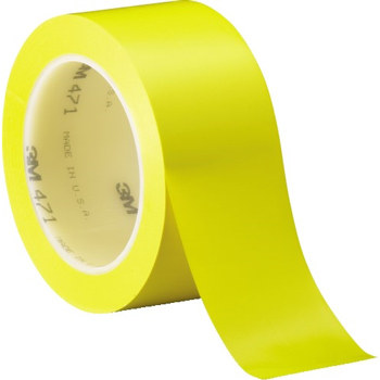 "3M™ 471 Vinyl Tape, 5.2 Mil, 2"" x 36 yds., Yellow, 3/CS"