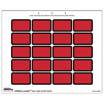 "Exhibits-U-Create Laser Legal Exhibit Labels, 1-5/8"" x 1"", Red, 240/PK"