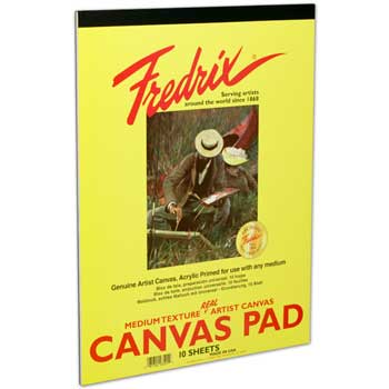 "Canvas Pad, 12"" x 16"", White, 10 Sheets/Pad"