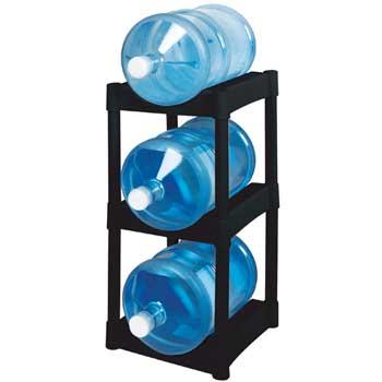 """Bottle Rack, Black, 14 1/2""""w x 21 1/2""""d x 29""""h, 3 Tier Shelves/Pack"""