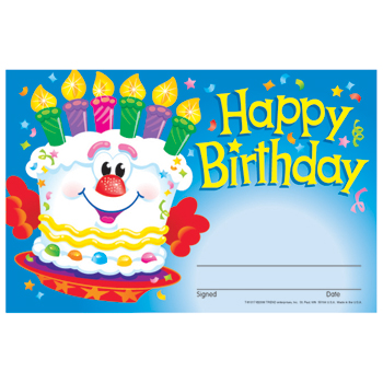 "TREND® Recognition Awards, Happy Birthday Cake, 8 1/2"" w x 5 1/2"" h"