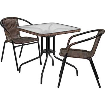 """28"""" Square Glass Metal Table with 2 Stack Chairs, Rattan, Dark Brown"""