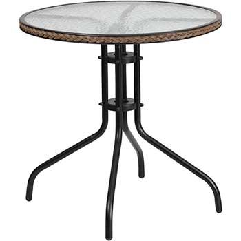 "Flash Furniture Table, Tempered Glass/Metal/Rattan, 28"" Round, Dark Brown"