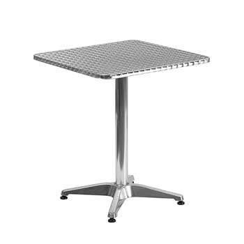 Flash Furniture Square Indoor-Outdoor Table with Base, Aluminum, 23.5''