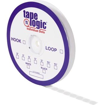 "Tape Logic® Individual Tape Dots, Hook, 3/4"", White, 1028/CS"