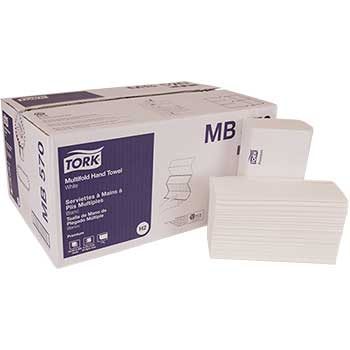 "Tork® Premium Multifold Towels, 1-Ply, White, 9 1/2"" x 9"", 3,000/CT"
