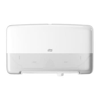 """Tork® T2 Twin Mini Jumbo Bath Tissue Roll Dispenser, 5.7"""" x 17"""" x 10.1"""", White"""