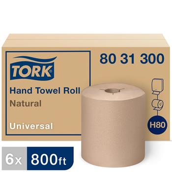 """Tork® H80 Universal Hand Towel Roll, 1-Ply, 8"""" x 800', Nature, 6/CT"""