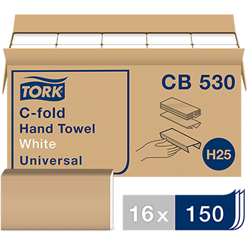 "Universal C-Fold Paper Hand Towel, 1-Ply, 12.75""w x 10.13""l, White, 2400/CT"