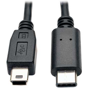 Tripp Lite USB 2.0 Hi-Speed Cable, USB 5-Pin Mini-B Male to USB Type-C (USB-C) Male, 6-ft.