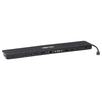 Tripp Lite USB-C Dock, Triple Display - 4K HDMI & DP, VGA, USB 3.2 Gen 1, USB-A/C Hub, GbE, 100W PD Charging, Black