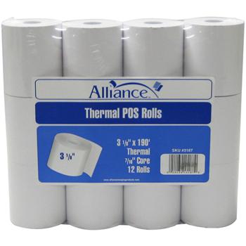 "Thermal Rolls, 3 1/8""x190', 12 RL/PK"