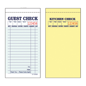 Guest Checks, Green Carbonless, 50 Checks/Pad, 50 Pads/CT