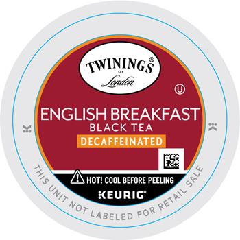TWININGS® K-Cup® Pods, Tea, English Breakfast Decaf, 24/BX
