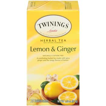 TWININGS® Tea Bags, Lemon Ginger, 25/BX