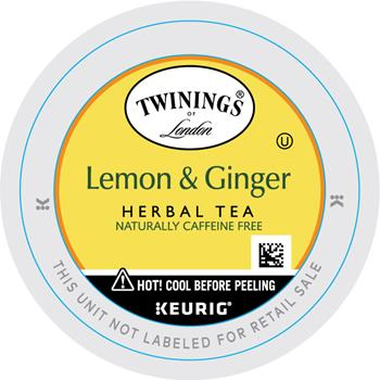 TWININGS® K-Cup® Pods, Tea, Lemon Ginger, 24/BX