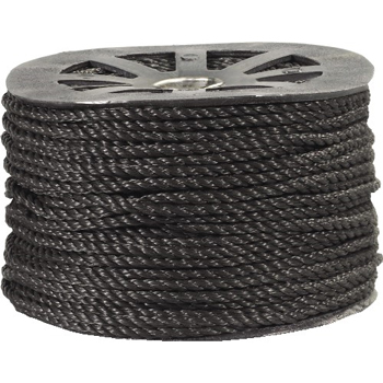 "W.B. Mason Co. Twisted Polypropylene Rope, 1/4"", 1,150 lb, Black, 600'"