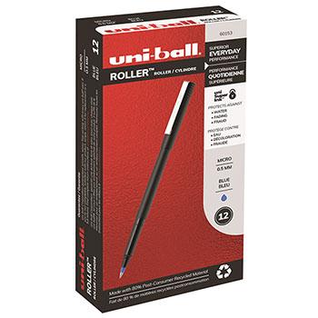 uni-ball® Roller Ball Stick Dye-Based Pen, Blue Ink, Micro, Dozen