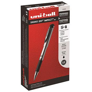 uni-ball® Gel Impact™ Rollerball Stick Pens, Bold Point, Black Ink, Dozen