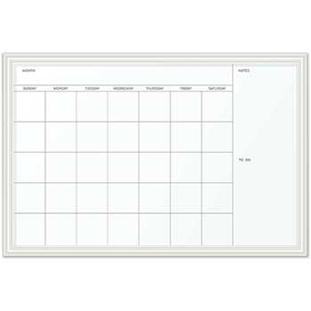 U Brands Magnetic Dry Erase Calendar with Decor Frame, 30 x 20, White Surface and Frame