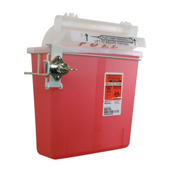 Unimed-Midwest In-Room Sharps Container, 5 Qt, Transparent Red with Sharpstar Lid