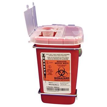Phlebotomy Sharps Container, 1 Qt, Red w/ Clear Lid