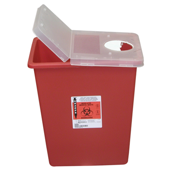 Large Volume Sharps Container, 8 Gal, Red w/ Hinged Lid, 2/BX