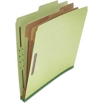W.B. Mason Co. Pressboard Classification Folder, Letter, Six-Section, Green, 10/BX