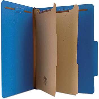 Pressboard Classification Folders, Letter, Six-Section, Cobalt Blue, 10/BX