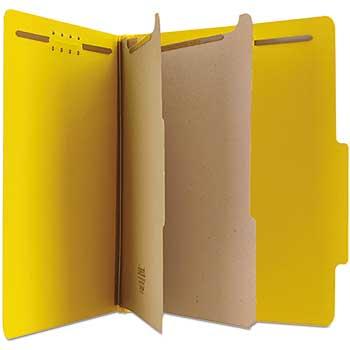 W.B. Mason Co. Pressboard Classification Folders, Letter, Six-Section, Yellow, 10/Box