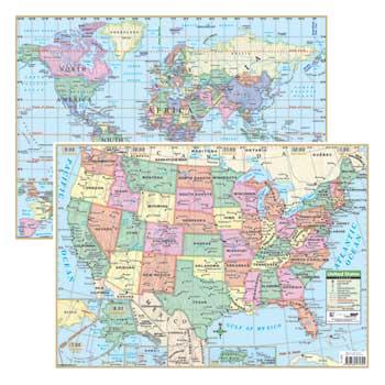 """K® Kappa Map™ USA/World Deskpad Map Set, 18"""" x 13"""", 30/PK"""