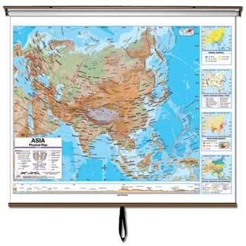 "K® Kappa Map™ Advanced Wall Maps, Asia Physcial, 64"" x 54"""