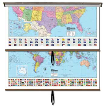 "Advanced Wall Maps, USA/World Combo Political, 64"" x 54"""