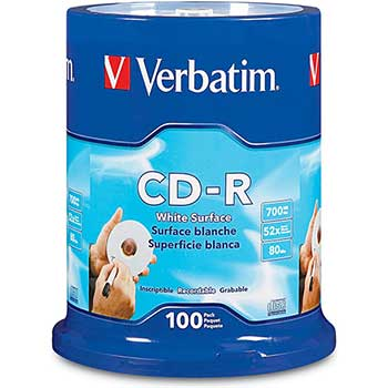 CD-R Discs, 700MB/80min, 52x, Spindle, White, 100/Pack