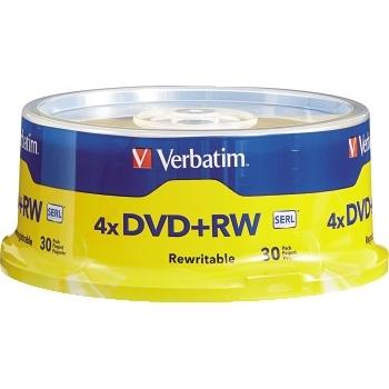 Verbatim® DVD+RW Discs, 4.7GB, 4x, Spindle, 30/Pack