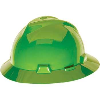 MSA Full Brim Hat, Bright Lime Green, 4-pt Fas-Trac III Suspension