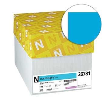 "Neenah Paper Exact Brights Paper, 8 1/2"" x 11"", Bright Blue, 50 lb./74 gsm., 5000/CT"