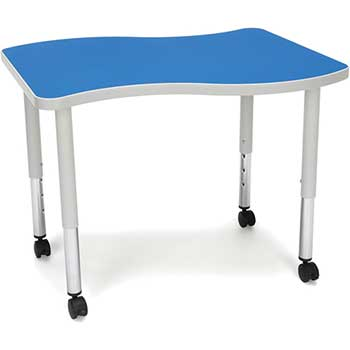 "OFM™ Adapt Series Small Wave Student Table, 20""-28"" Height Adjustable Desk with Casters, Blue"