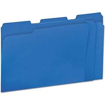 File Folders, 1/3 Cut One-Ply Top Tab, Letter, Blue/Light Blue, 100/BX