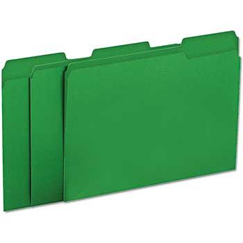 File Folders, 1/3 Cut One-Ply Tab, Letter, Green/Light Green, 100/BX