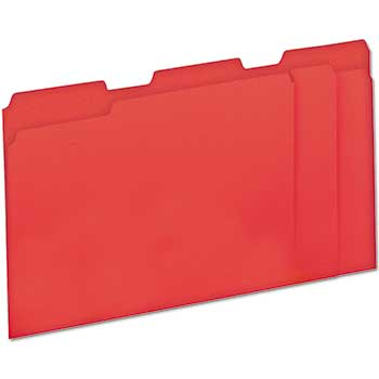 File Folders, 1/3 Cut One-Ply Top Tab, Letter, Red/Light Red, 100/BX