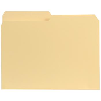 File Folders, 1/2 Cut, One-Ply Top Tab, Letter, Manila, 100/Box