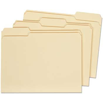 File Folders, 1/3 Cut Assorted, Two-Ply Top Tab, Letter, Manila, 100/BX