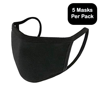 Multi-Layered, Cloth Face Masks, Black, 5/PK