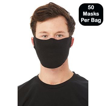Contoured Fabric Face Mask, Black, 7oz, 50/BG